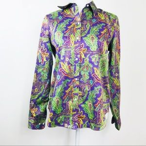 Chaps No Iron Cotton Purple Paisley Button Shirt M
